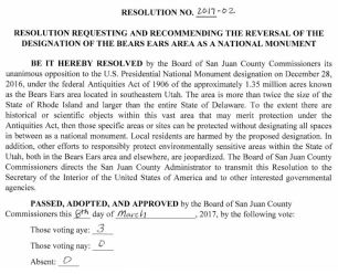 San Juan County Reversal Resolution BENM 2017