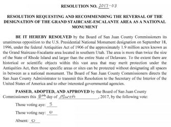 San Juan County Reversal Resolution GSENM 2017.